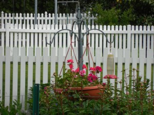 Flowers by a white picket fence