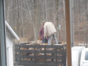 Unloading the firewood