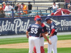 Reading Phillies conference on the mound